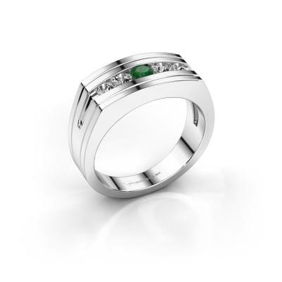 Foto van Heren ring Huub 950 platina smaragd 3.7 mm