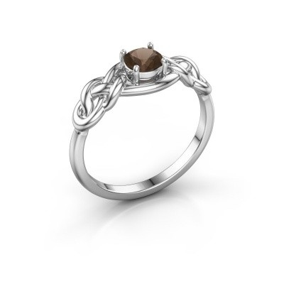 Foto van Ring Zoe 585 witgoud rookkwarts 5 mm