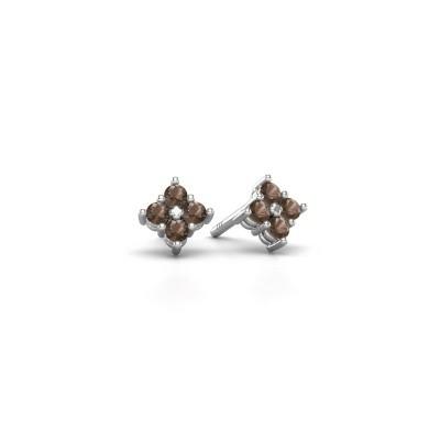 Picture of Stud earrings Maryetta 925 silver smokey quartz 2 mm
