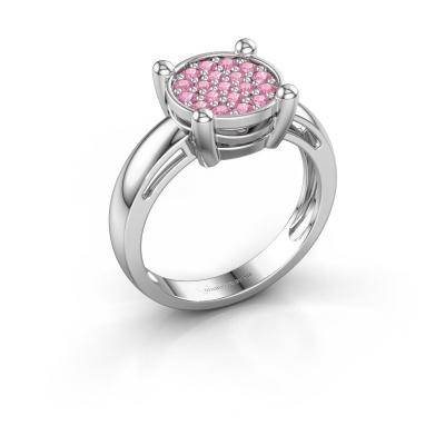 Ring Dina 925 zilver roze saffier 1.6 mm
