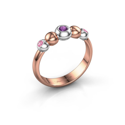 Stackable ring Lily 585 rose gold amethyst 2.5 mm