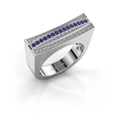 Foto van Ring Erma 925 zilver saffier 1.2 mm