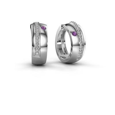 Picture of Hoop earrings Shakita 950 platinum amethyst 2 mm