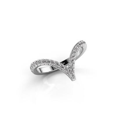 Ring Mirtha 585 witgoud zirkonia 1.5 mm