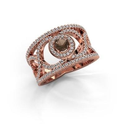 Foto van Ring Regina 375 rosé goud rookkwarts 4.2 mm