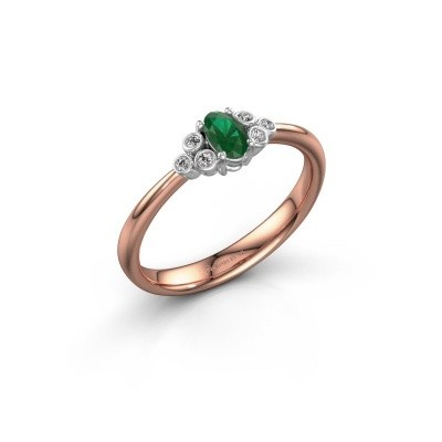 Picture of Engagement ring Lucy 1 585 rose gold emerald 6x4 mm