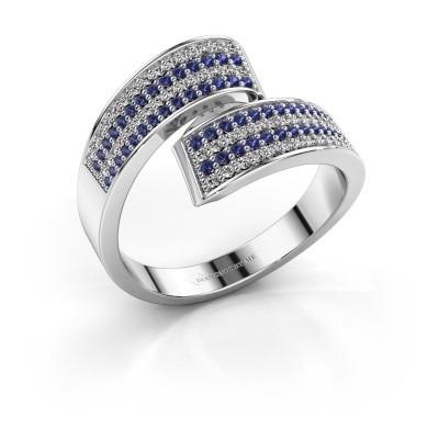 Ring Athena 950 platina saffier 1 mm