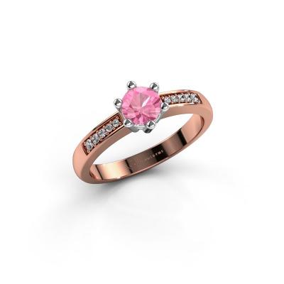 Foto van Verlovingsring Luna 2 585 rosé goud roze saffier 5 mm