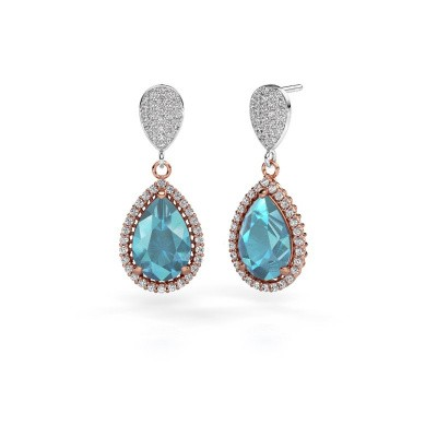 Drop earrings Tilly per 2 585 rose gold blue topaz 12x8 mm