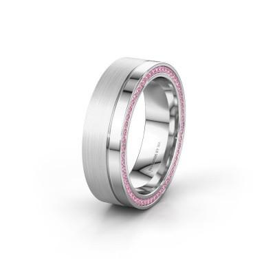 Trouwring WH0313L16B 925 zilver roze saffier ±6x2 mm