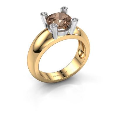 Bague Tamara RND 585 or jaune diamant brun 2.00 crt