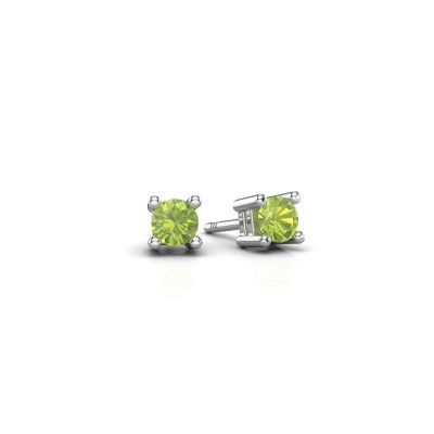 Ohrsteckers Eline 950 Platin Peridot 4 mm