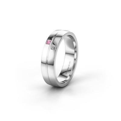 Trouwring WH0231L25BP 950 platina roze saffier ±5x2 mm
