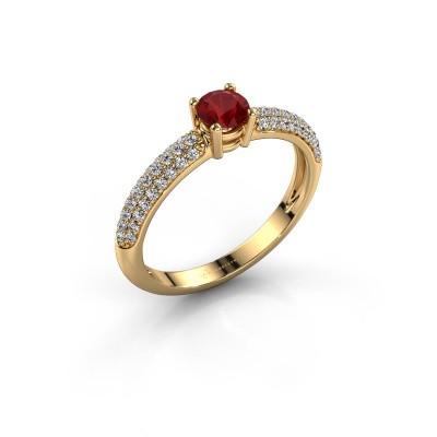 Foto van Ring Marjan 375 goud robijn 4.2 mm