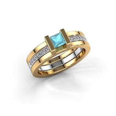 Foto van Ring Desire 585 goud blauw topaas 4 mm