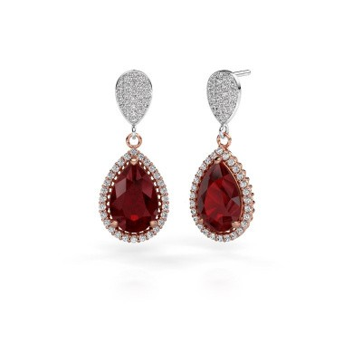 Drop earrings Tilly per 2 585 rose gold ruby 12x8 mm