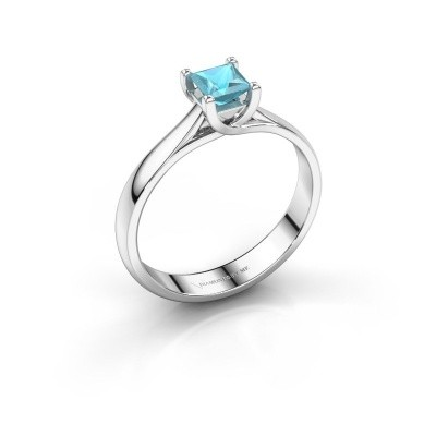 Verlobungsring Mia Square 925 Silber Blau Topas 4 mm