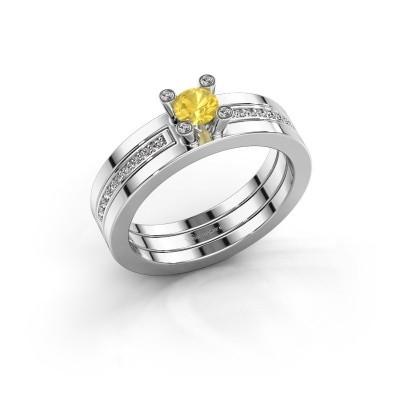 Foto van Ring Alisha 585 witgoud gele saffier 4 mm
