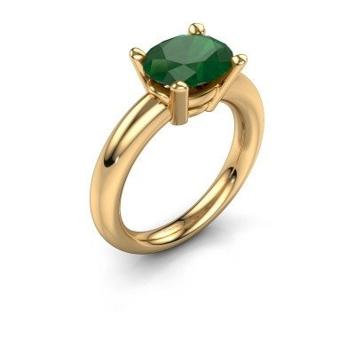 Ring Janiece 585 gold emerald 10x8 mm