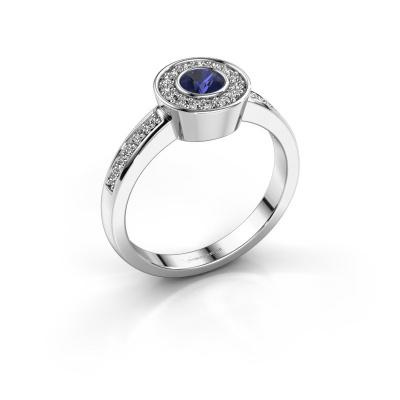 Ring Adriana 2 950 platina saffier 4 mm