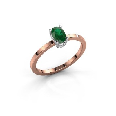 Foto van Ring Lynelle 1 585 rosé goud smaragd 6x4 mm