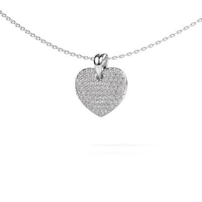 Photo de Collier Heart 5 585 or blanc diamant synthétique 0.402 crt