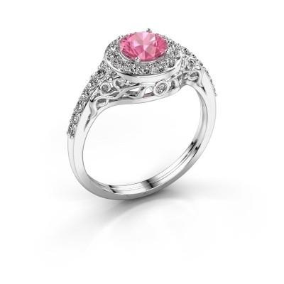 Foto van Ring Yurani 925 zilver roze saffier 6 mm