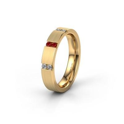 Trouwring WH2133L14BM 375 goud robijn ±4x2.2 mm