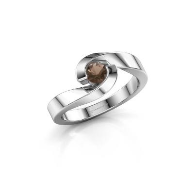 Foto van Ring Sheryl 950 platina rookkwarts 4 mm