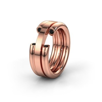 Wedding ring WH6018L 585 rose gold black diamond ±8x3 mm