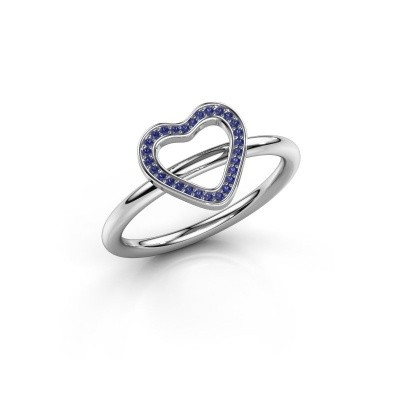 Foto van Ring Shape heart large 375 witgoud saffier 0.8 mm