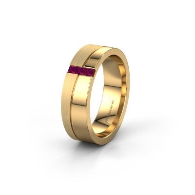 Wedding ring WH0906L16A 585 gold rhodolite ±0.24x0.07 in