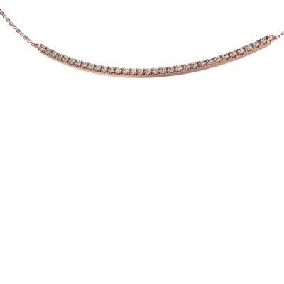 Bar ketting Simona 375 rosé goud zirkonia 1.5 mm