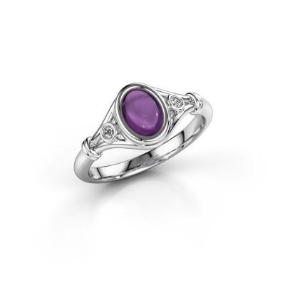 Ring Scarlett 925 zilver amethist 7x5 mm