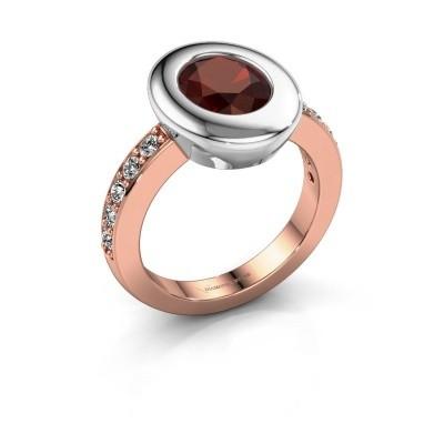 Ring Selene 2 585 rosé goud granaat 9x7 mm