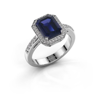 Image of Engagement ring Dodie 2 585 white gold sapphire 9x7 mm