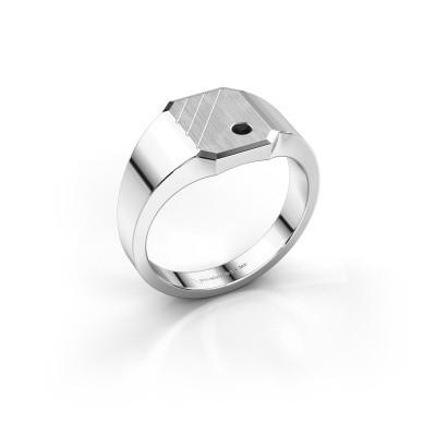 Foto van Zegelring Patrick 1 925 zilver zwarte diamant 0.036 crt