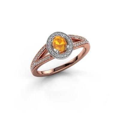 Verlovings ring Angelita OVL 585 rosé goud citrien 6x4 mm