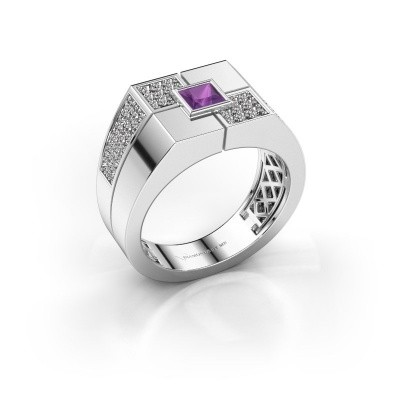 Men's ring Rogier 375 white gold amethyst 4 mm