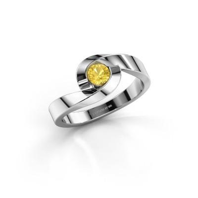 Foto van Ring Sheryl 585 witgoud gele saffier 4 mm