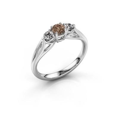Photo de Bague de fiançailles Amie RND 585 or blanc diamant brun 0.50 crt