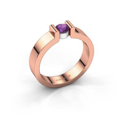 Verlovingsring Isabel 1 585 rosé goud amethist 4 mm