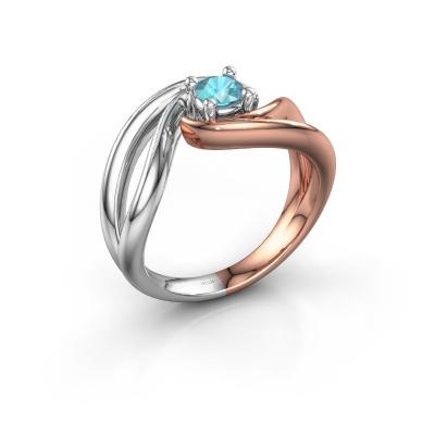 Ring Kyra 585 rosé goud blauw topaas 4 mm