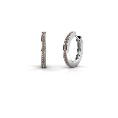 Foto van Creolen Renee 4 12 mm 925 zilver bruine diamant 0.38 crt
