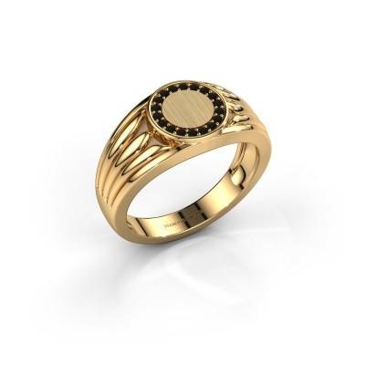 Pinkring Jacobus 585 goud zwarte diamant 0.162 crt