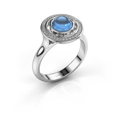 Ring Salima 950 platina blauw topaas 6 mm