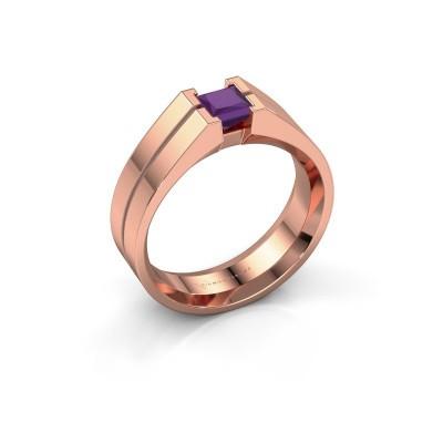 Foto van Heren ring Stefan 375 rosé goud amethist 4.5 mm