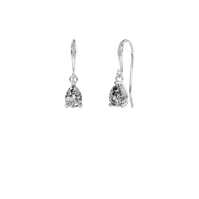 Picture of Drop earrings Laurie 2 375 white gold zirconia 7x5 mm
