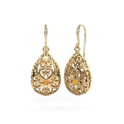 Picture of Drop earrings Idalia 2 585 gold citrin 2 mm