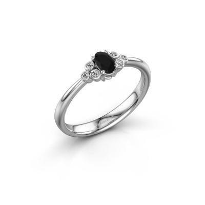 Foto van Verlovingsring Lucy 1 585 witgoud zwarte diamant 0.672 crt